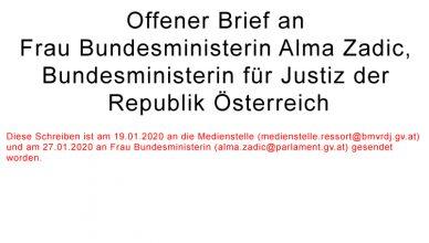Offener Brief an Frau Bundesministerin Alma Zadic, Bundesministerin für Justiz der Republik Österreich